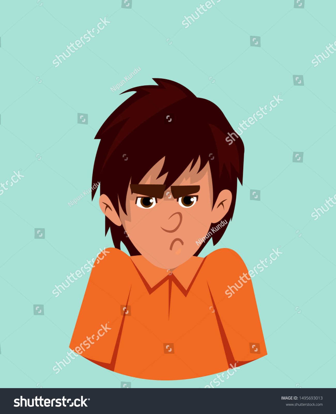 Anger Facial Expression Angry Cute Boy Stock Vector Royalty Free 1495693013