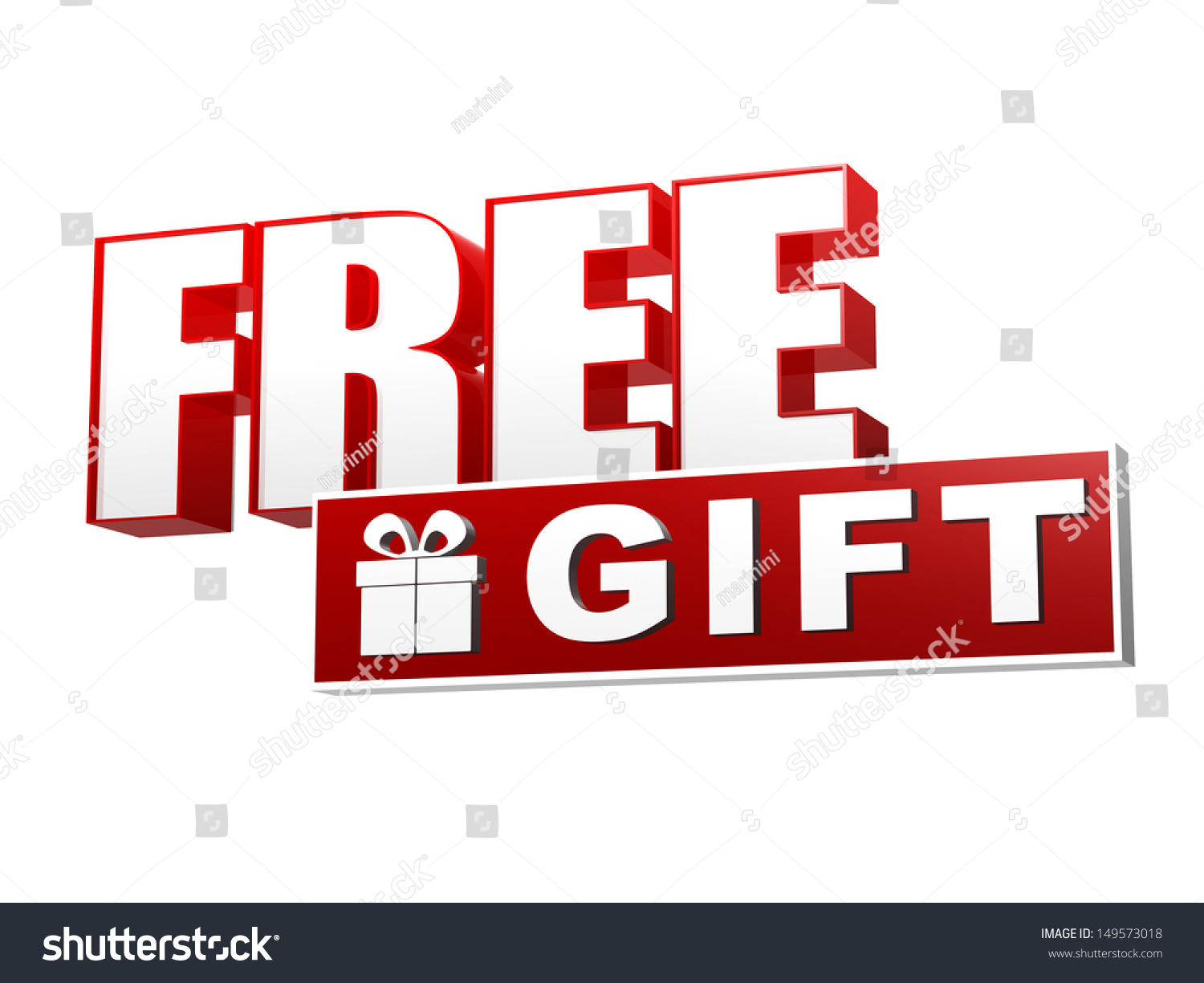Free gift present box symbol text 149573018 free gift and present box symbol text and sign in 3d red white banner negle Images