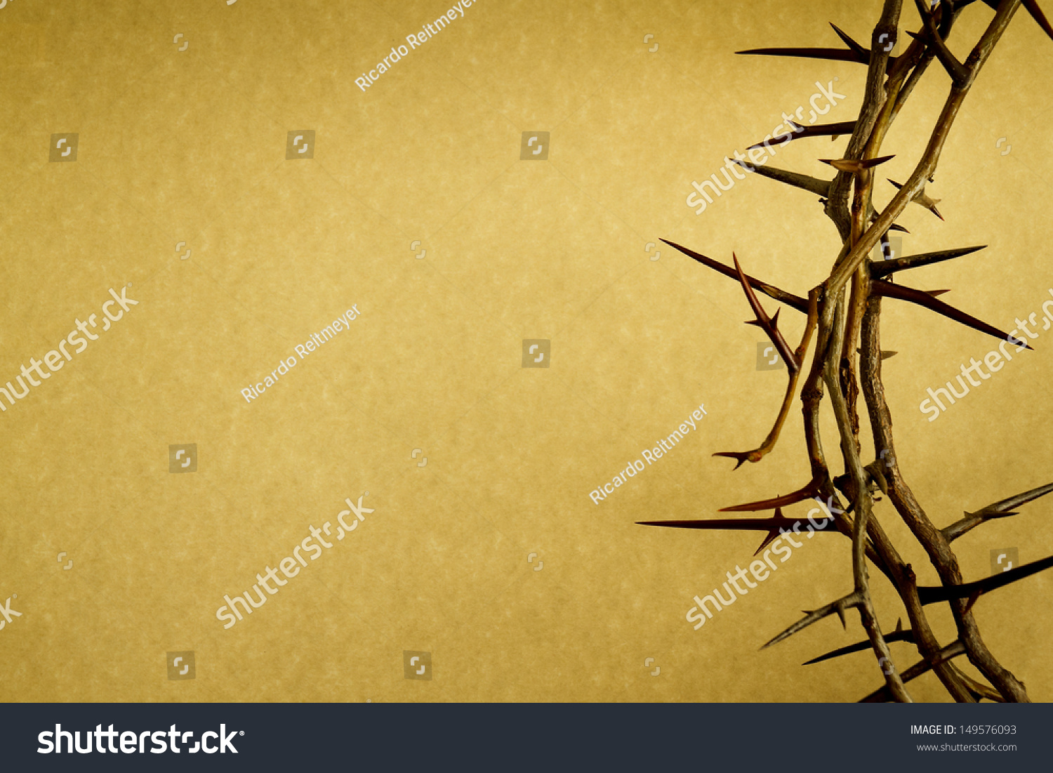 This Crown of Thorns against parchment paper represents Jesus's ...