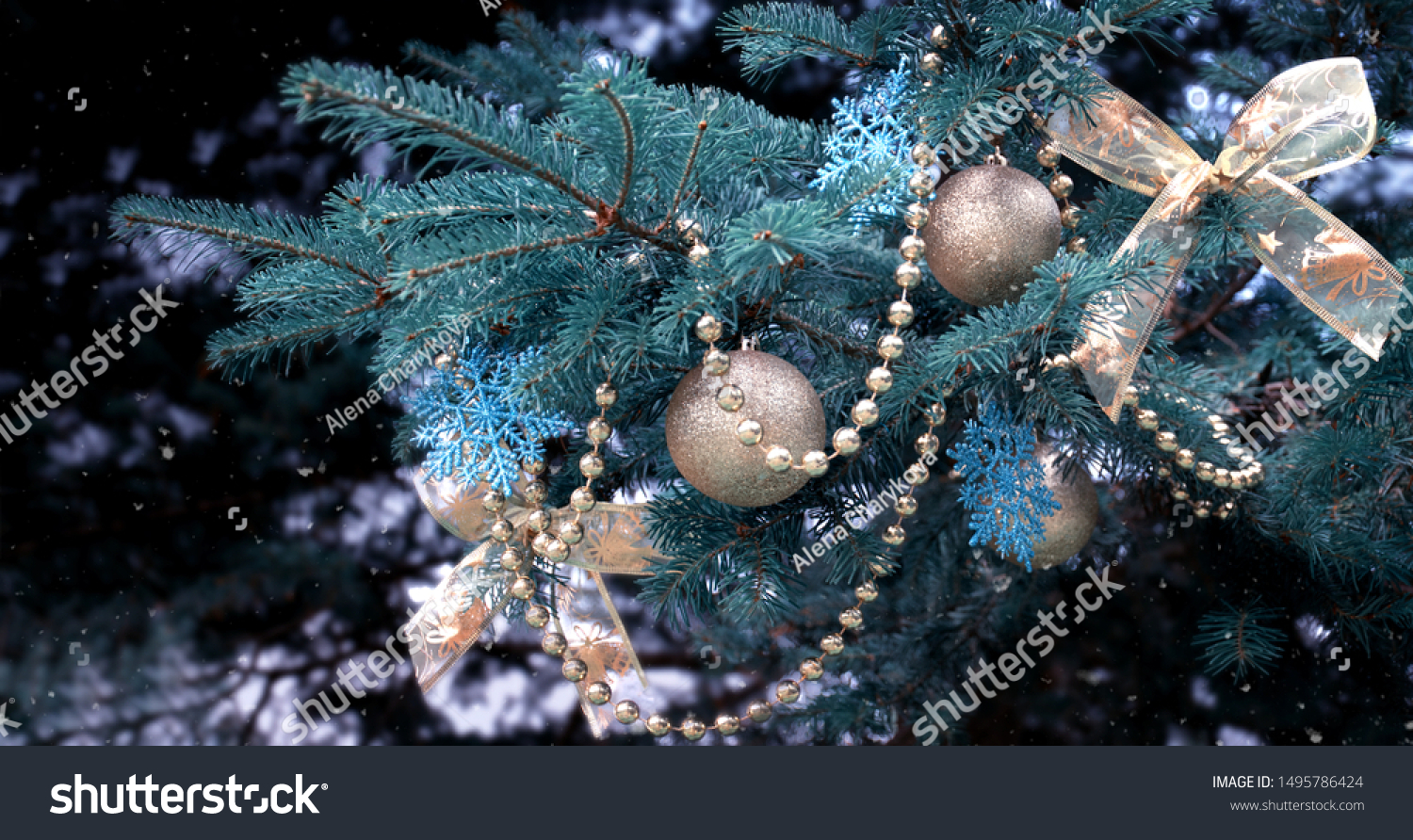 Closeup Christmas Tree Rose Gold Turquoise Stock Photo Edit Now 1495786424