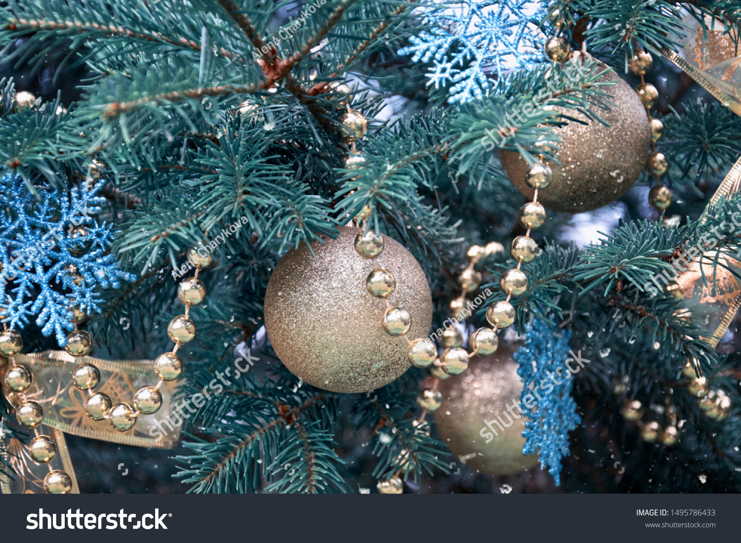 Closeup Christmas Tree Rose Gold Turquoise Stock Photo Edit Now 1495786433