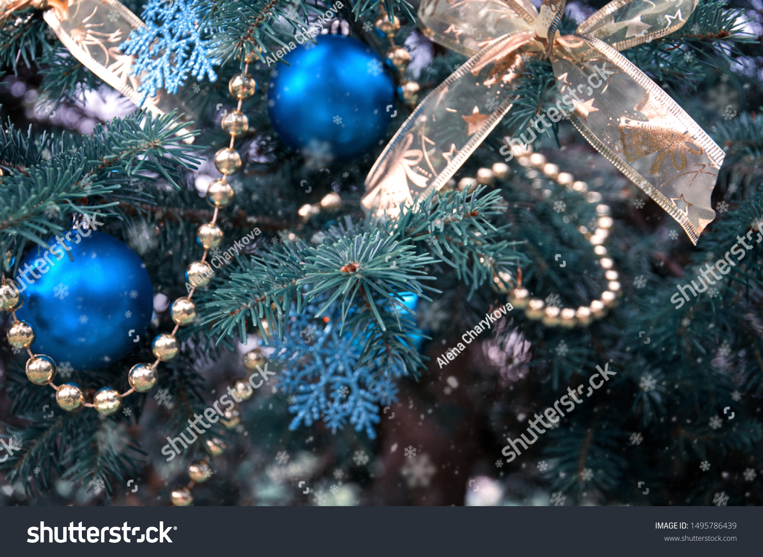 Closeup Christmas Tree Rose Gold Turquoise Stock Photo Edit Now 1495786439