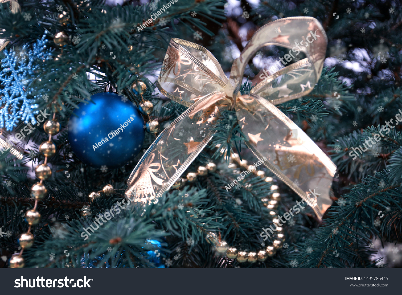 Closeup Christmas Tree Rose Gold Turquoise Stock Photo Edit Now 1495786445