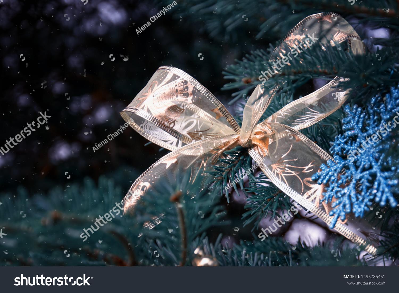 Closeup Christmas Tree Rose Gold Turquoise Stock Photo Edit Now 1495786451