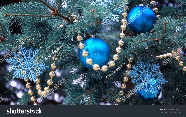 Closeup Christmas Tree Rose Gold Turquoise Stock Photo Edit Now 1495786481