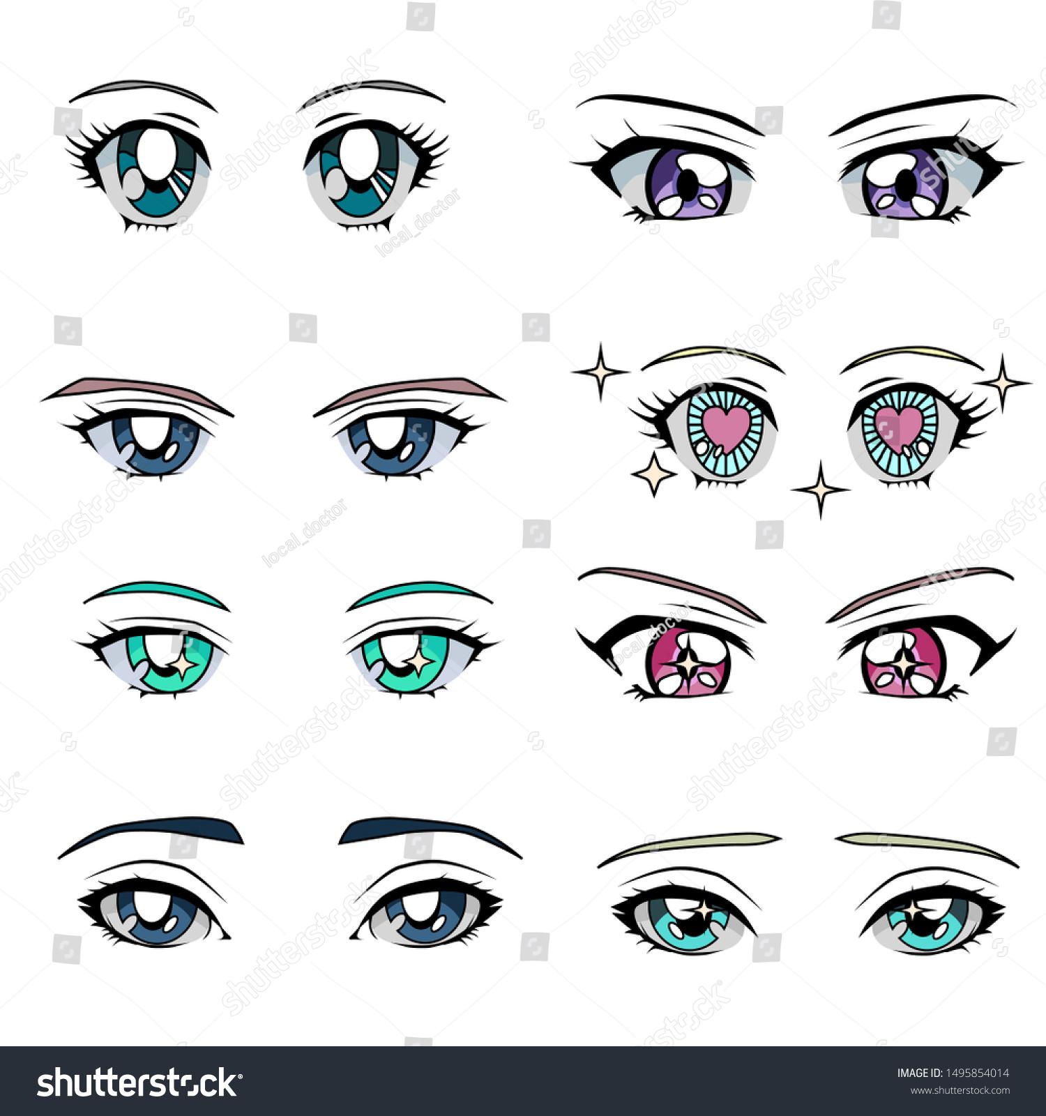Set Cartoon Anime Eyes Male Female Stock Vector Royalty Free 1495854014