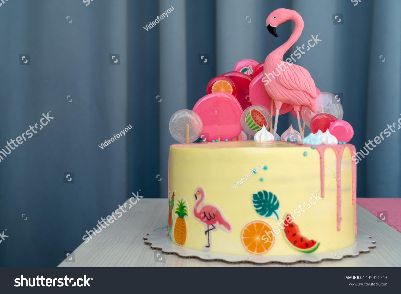 Phenomenal Flamingo Cake Hawaiian Party Childrens Birthday Stock Photo Edit Funny Birthday Cards Online Kookostrdamsfinfo