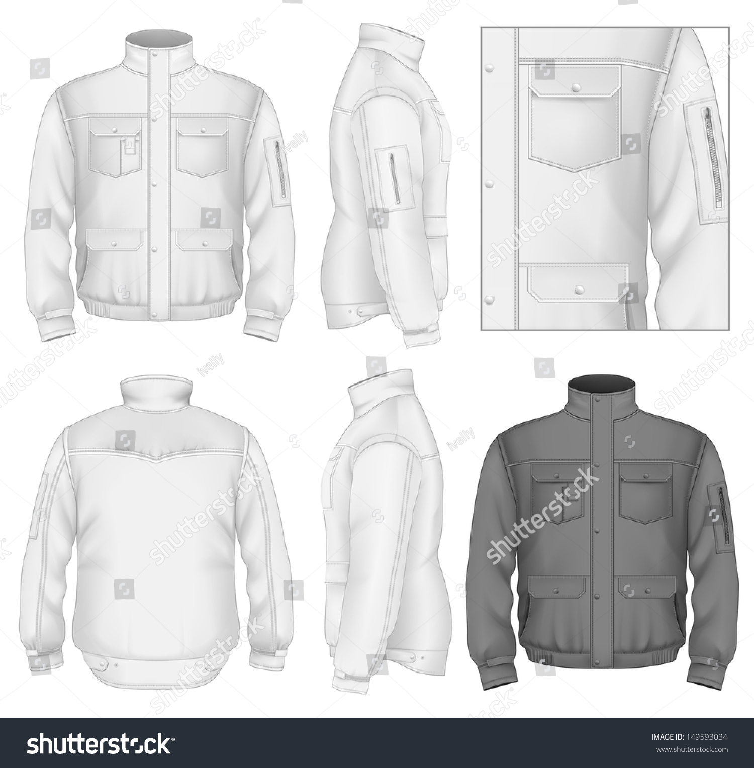 photorealistic vector illustration mens flight jacket stock vector