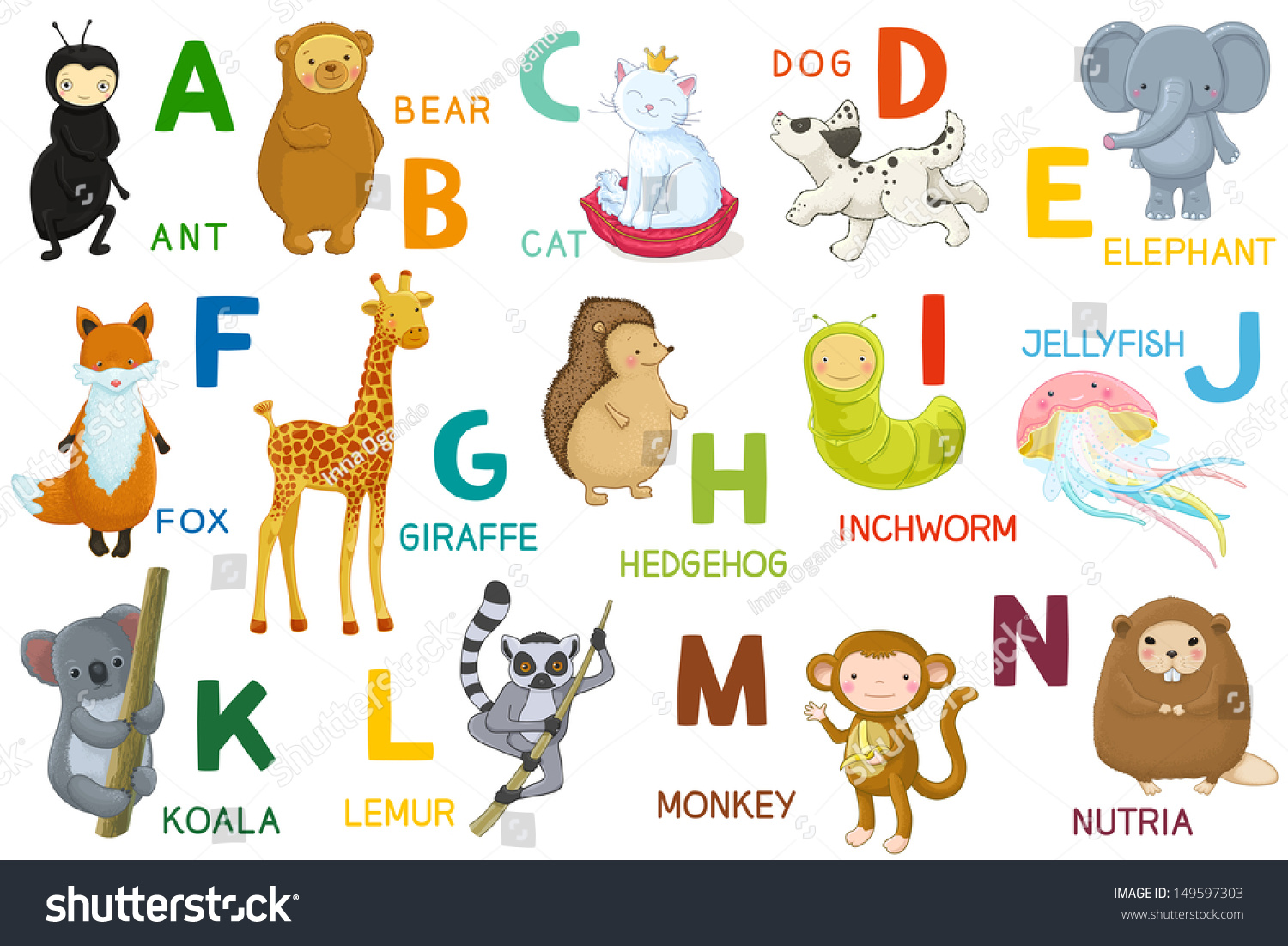 Animals ABC Letter AN Cartoon Characters Stock Vector (Royalty