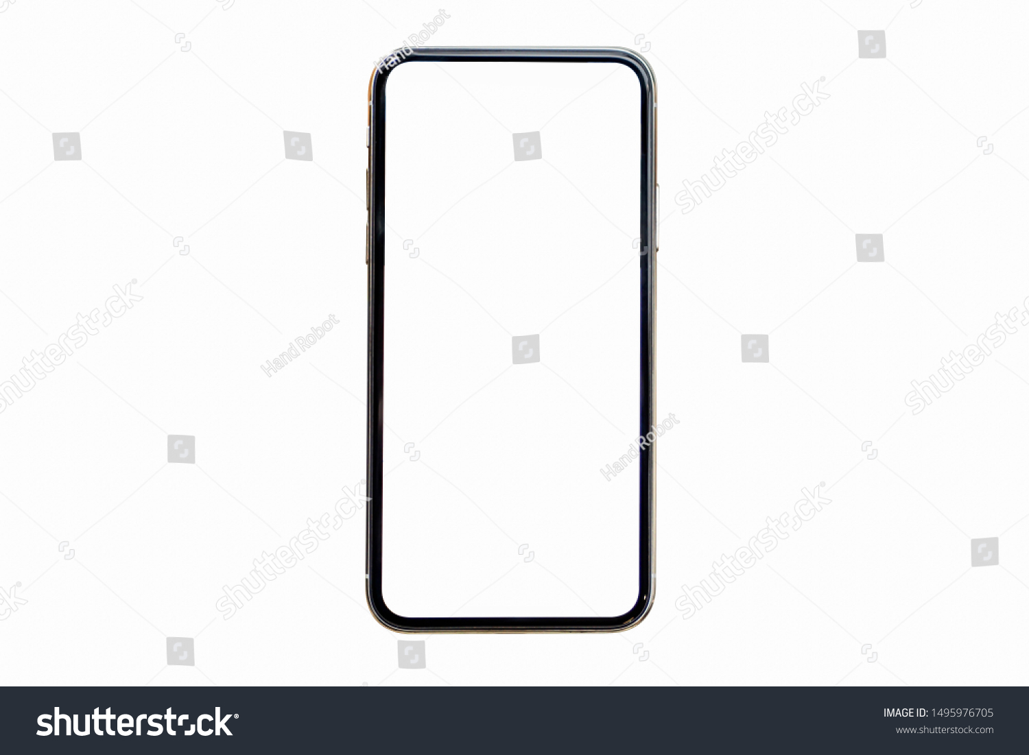 Smartphone similar to iphoneX xs max with blank white screen for Infographic Global Business Marketing investment Plan, mockup model similar to iPhone x isolated illustration of responsive web design #1495976705