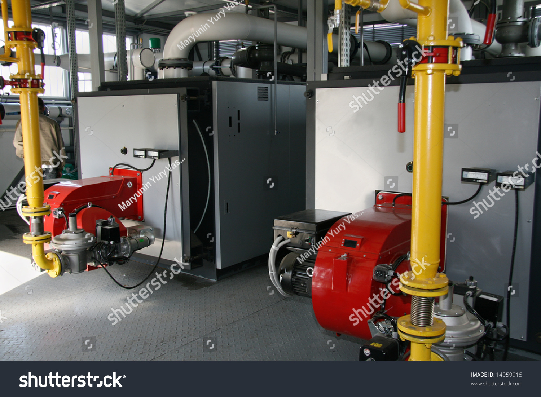 The gas steel boiler established in modern independent boiler-house ...