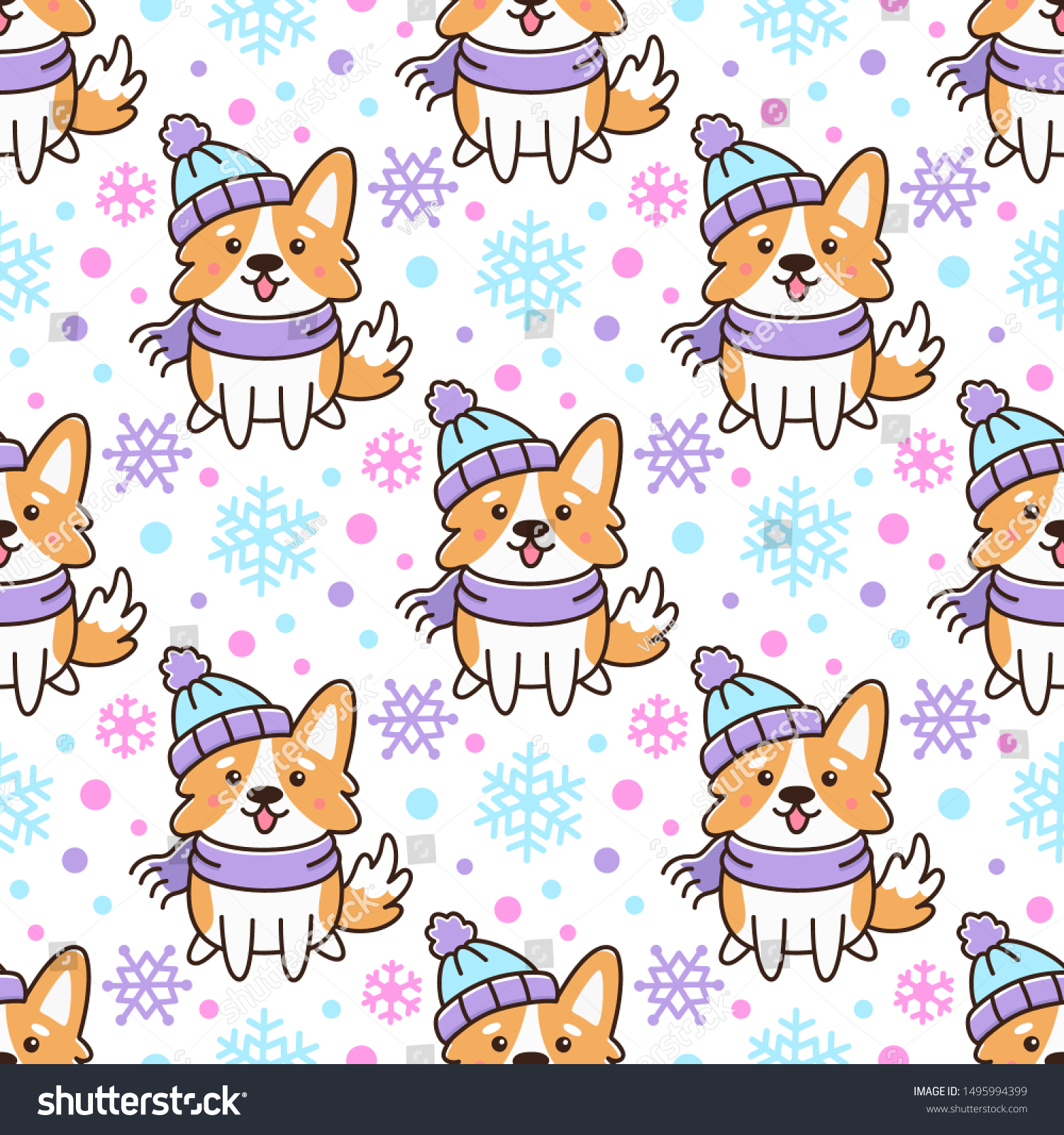 Seamless pattern with сute dog breed welsh corgi in hat and scarf with snowflakes, on white background. Excellent design for packaging, wrapping paper, textile etc.