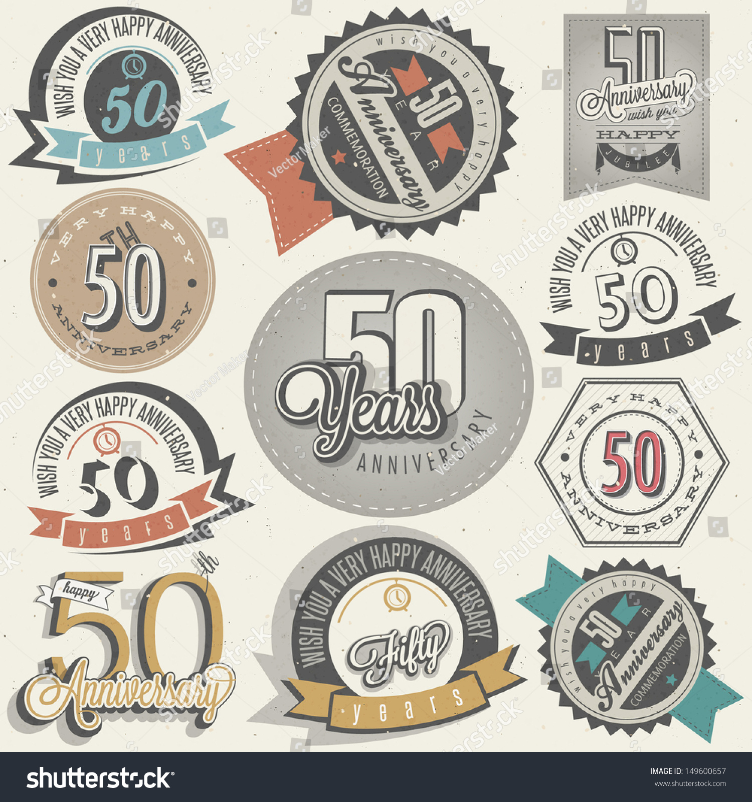 Vintage Style 50 Anniversary Collection Fifty Stock Vector 149600657 Shutterstock