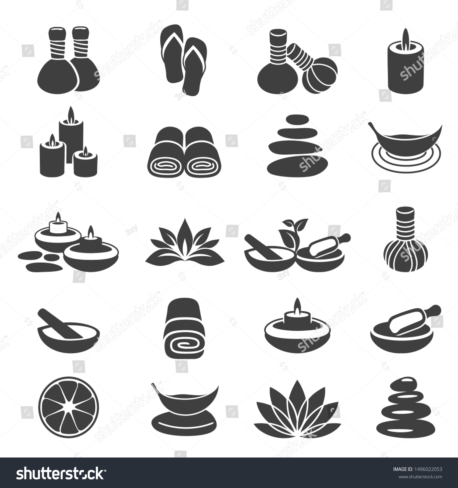 Simple Set Spa Vector Icons Body Stock Vector Royalty Free 1496022053