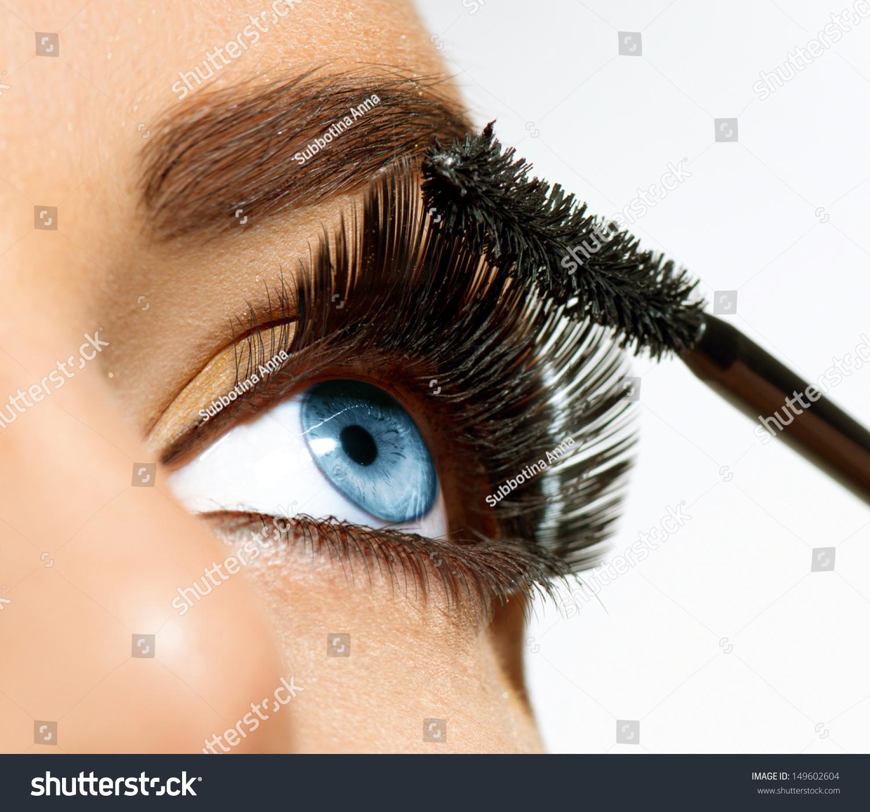 Mascara Applying Long Lashes Closeup Mascara Stock Photo ...
