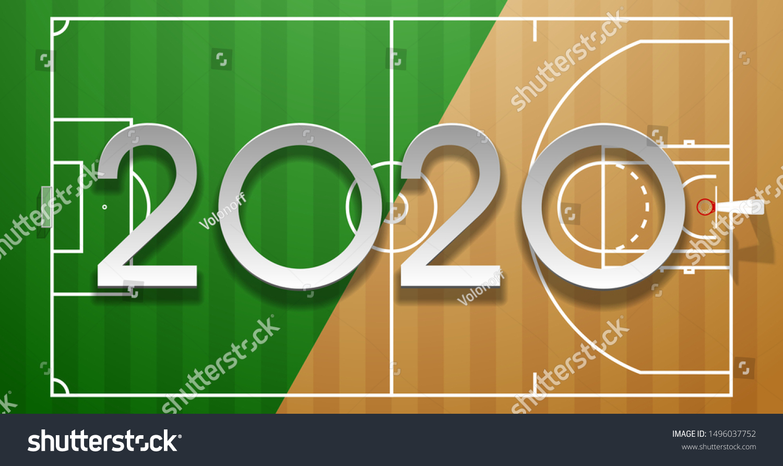 Football Basketball 2020 Championship Design Greeting Stock