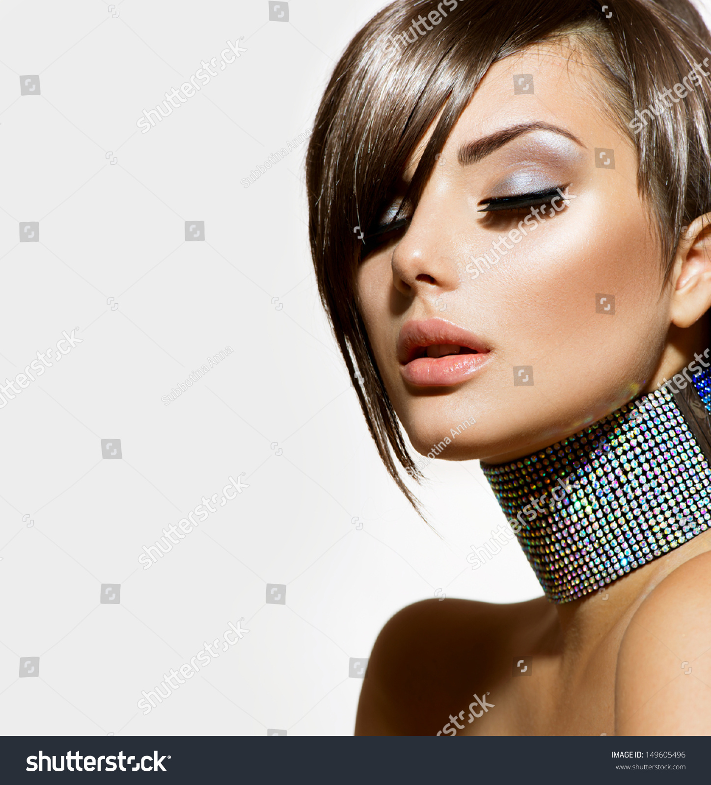 Fashion Beauty Girl Gorgeous Woman Portrait Stylish Haircut And Makeup Hairstyle Make Up