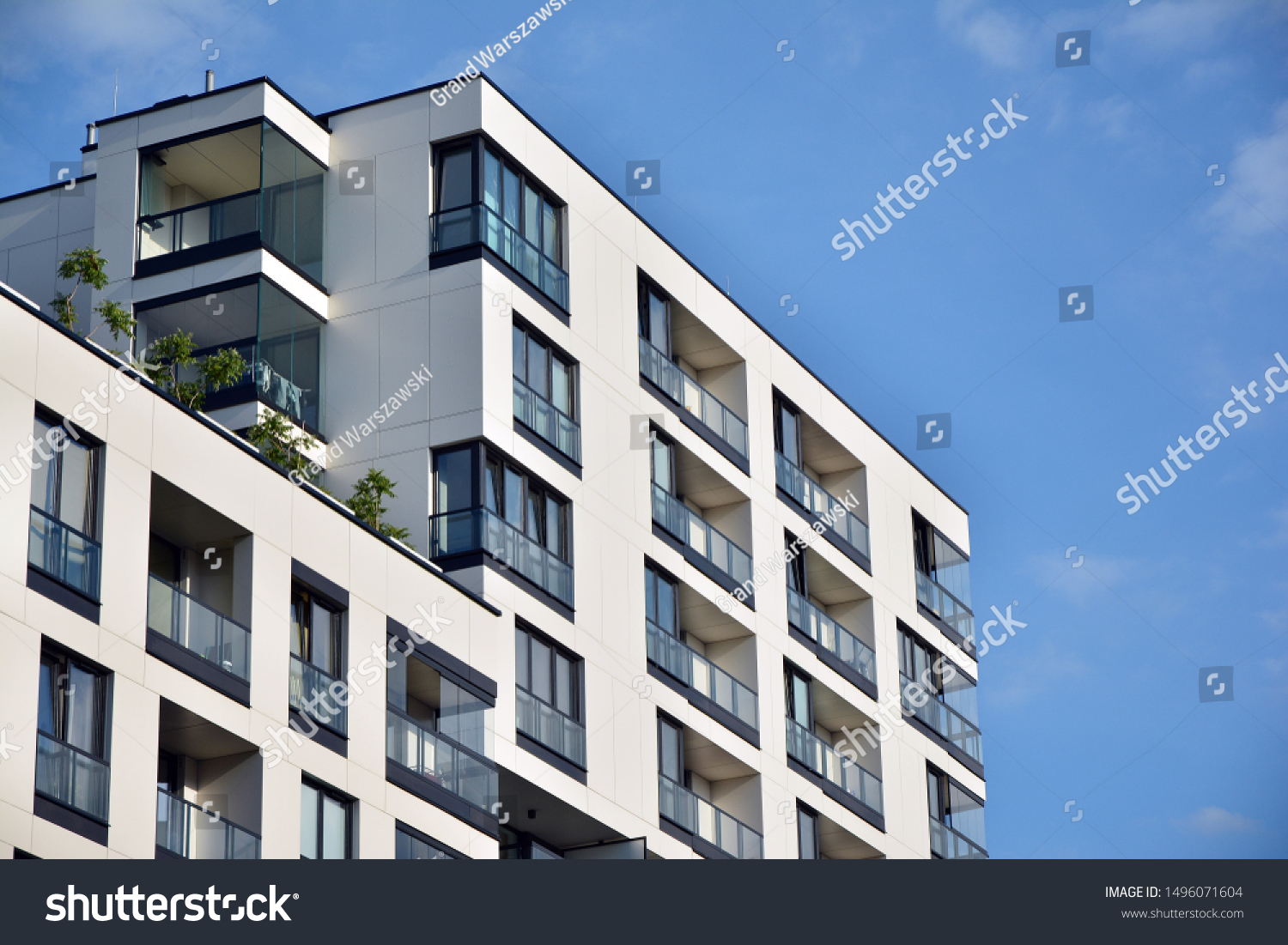 Modern and new apartment building. Multistoried modern, new and stylish living block of flats. #1496071604