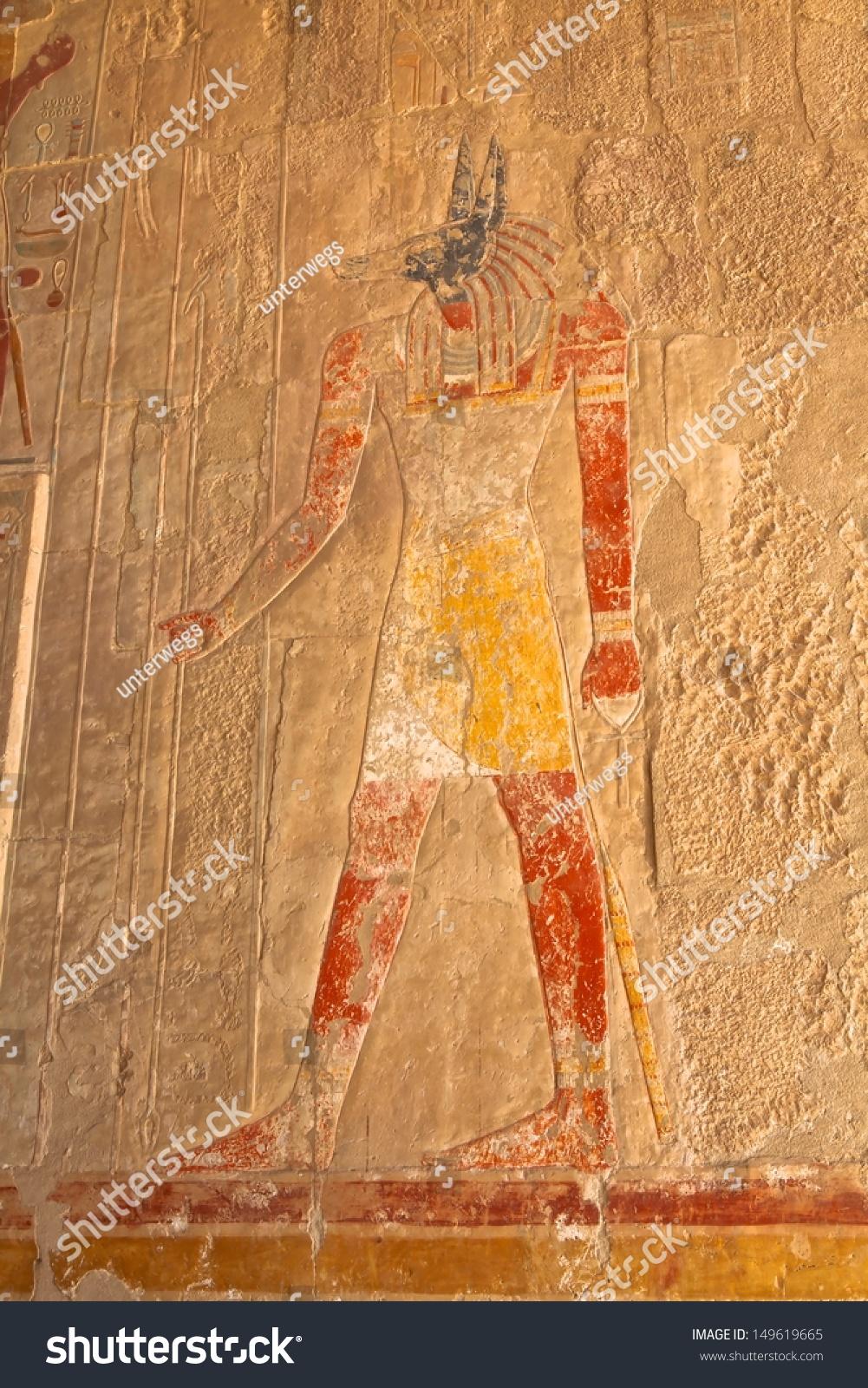 Polychromed carvings pharaoh god horus awesome stock photo edit
