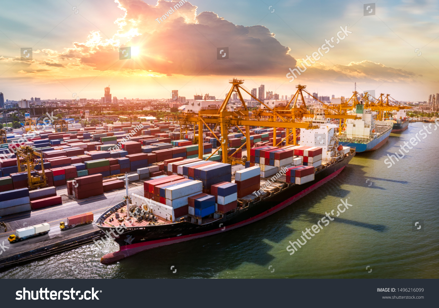 Logistics and transportation of Container Cargo ship and Cargo plane with working crane bridge in shipyard at sunrise, logistic import export and transport industry background #1496216099