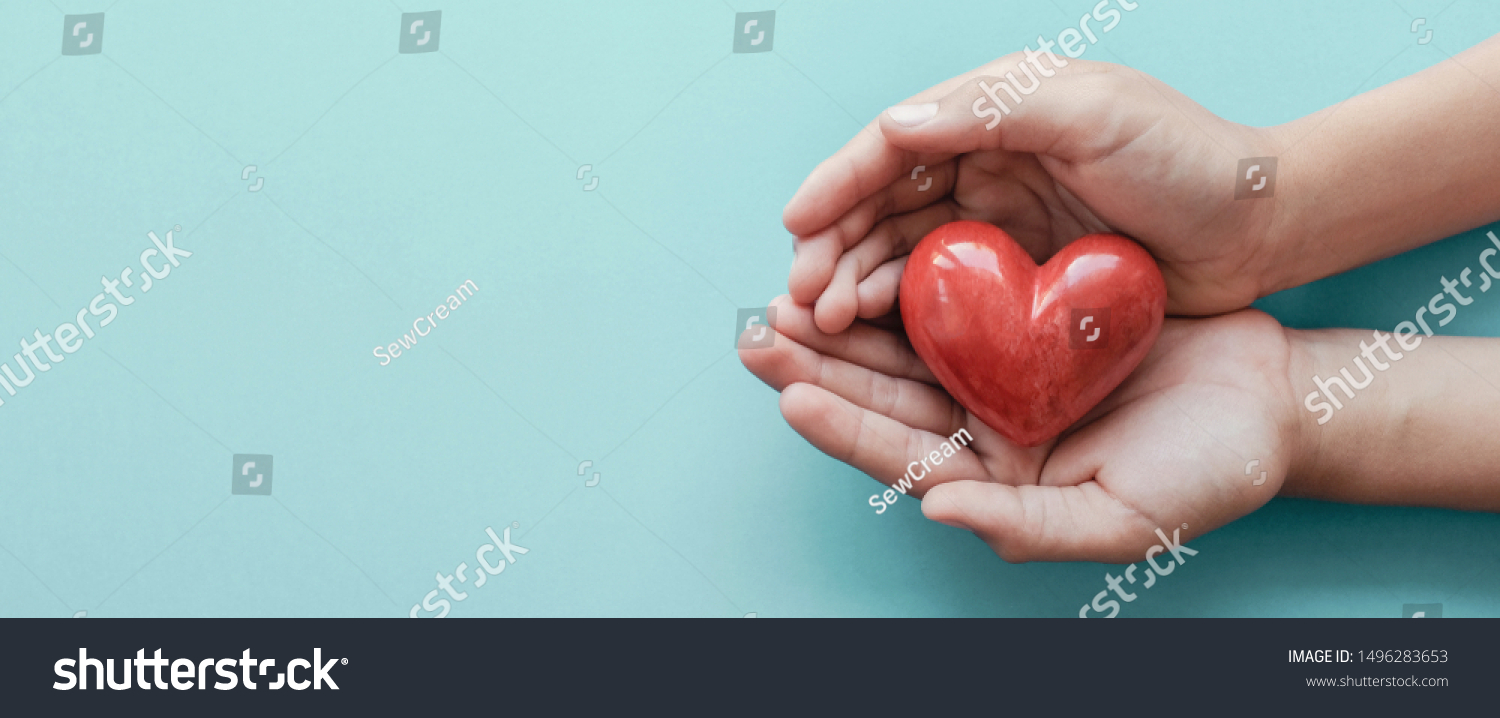 hands holding red heart, health care, love, organ donation, mindfulness, wellbeing, family insurance and CSR concept, world heart day, world health day, National Organ Donor Day #1496283653
