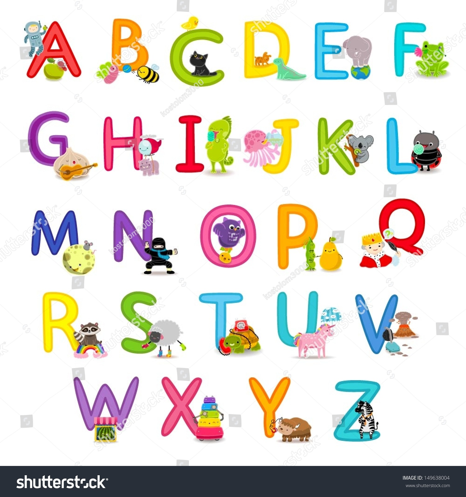 Kitchen Poster Food As Alphabet With Food Name: Cute Childrens English Alphabet Fun Cartoon Stock Vector