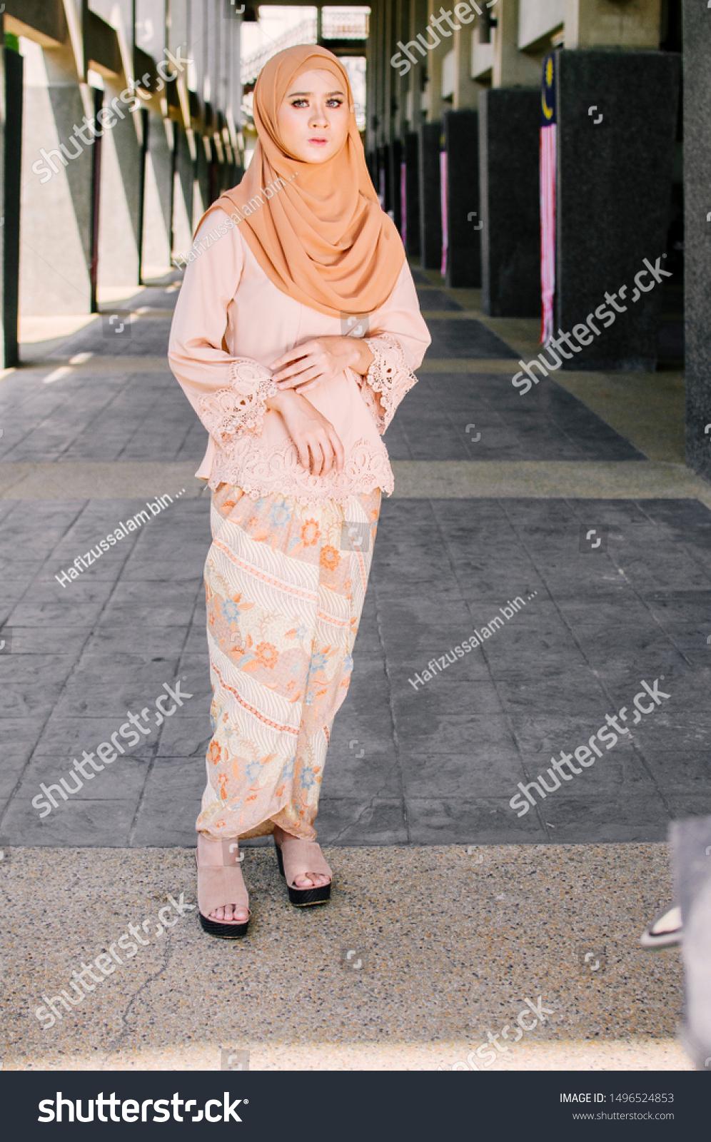 Modern Kebaya Hijab Fashion Lifestyle Stock Photo (Edit Now