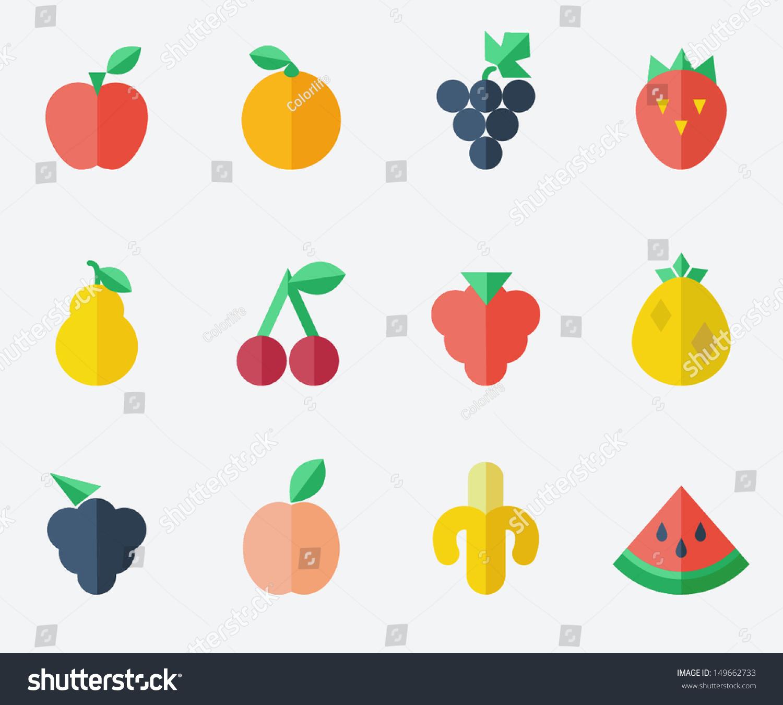 Fruit Set Flat Design Illustration Vectorielle Libre De