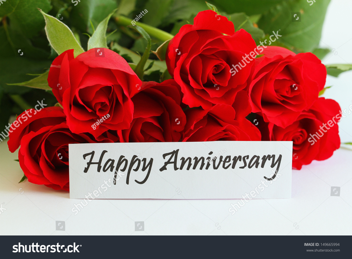 Happy Anniversary Card Red Roses Stock Photo 149665994