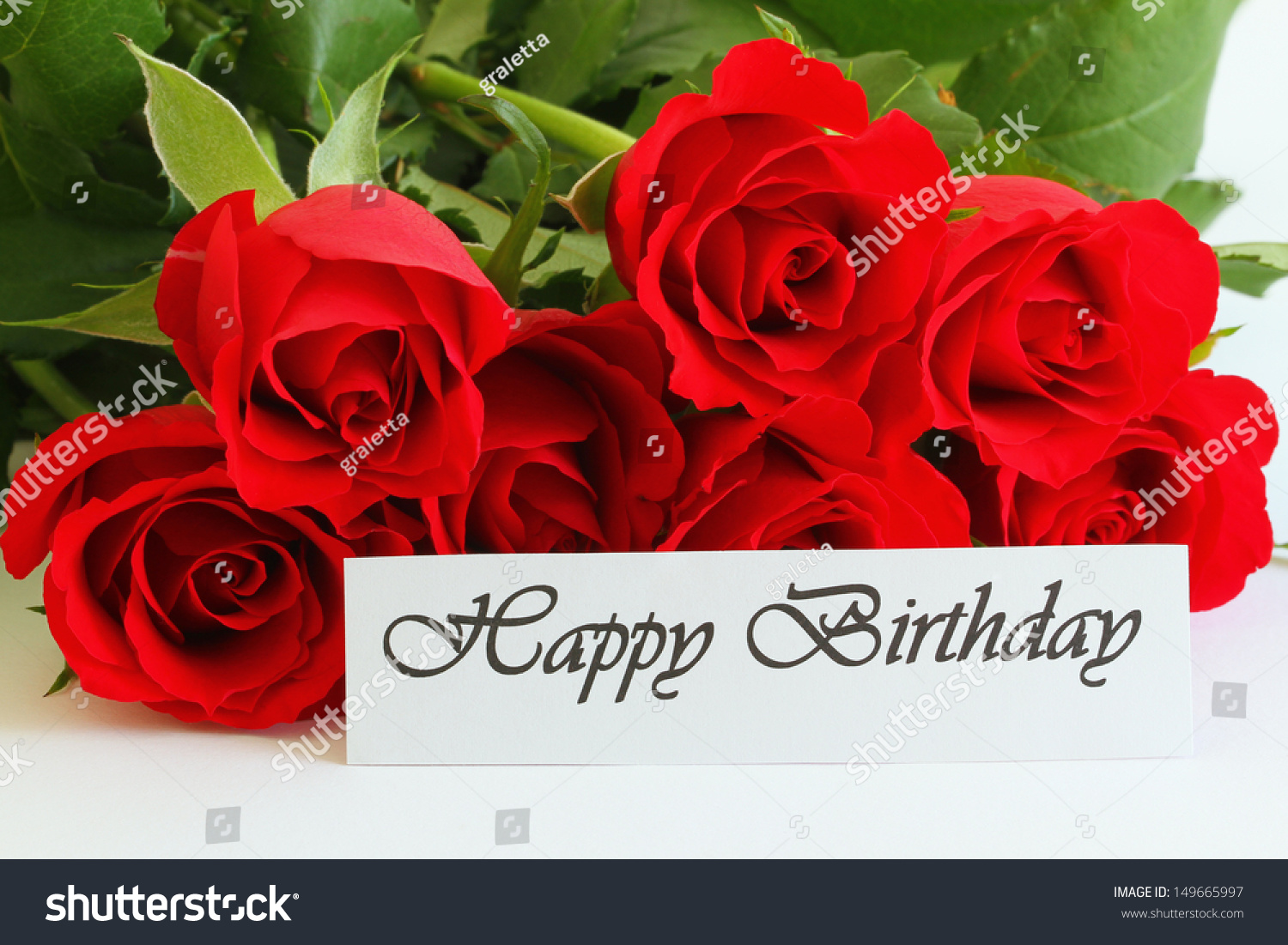happy birthday card red roses stock photo 149665997