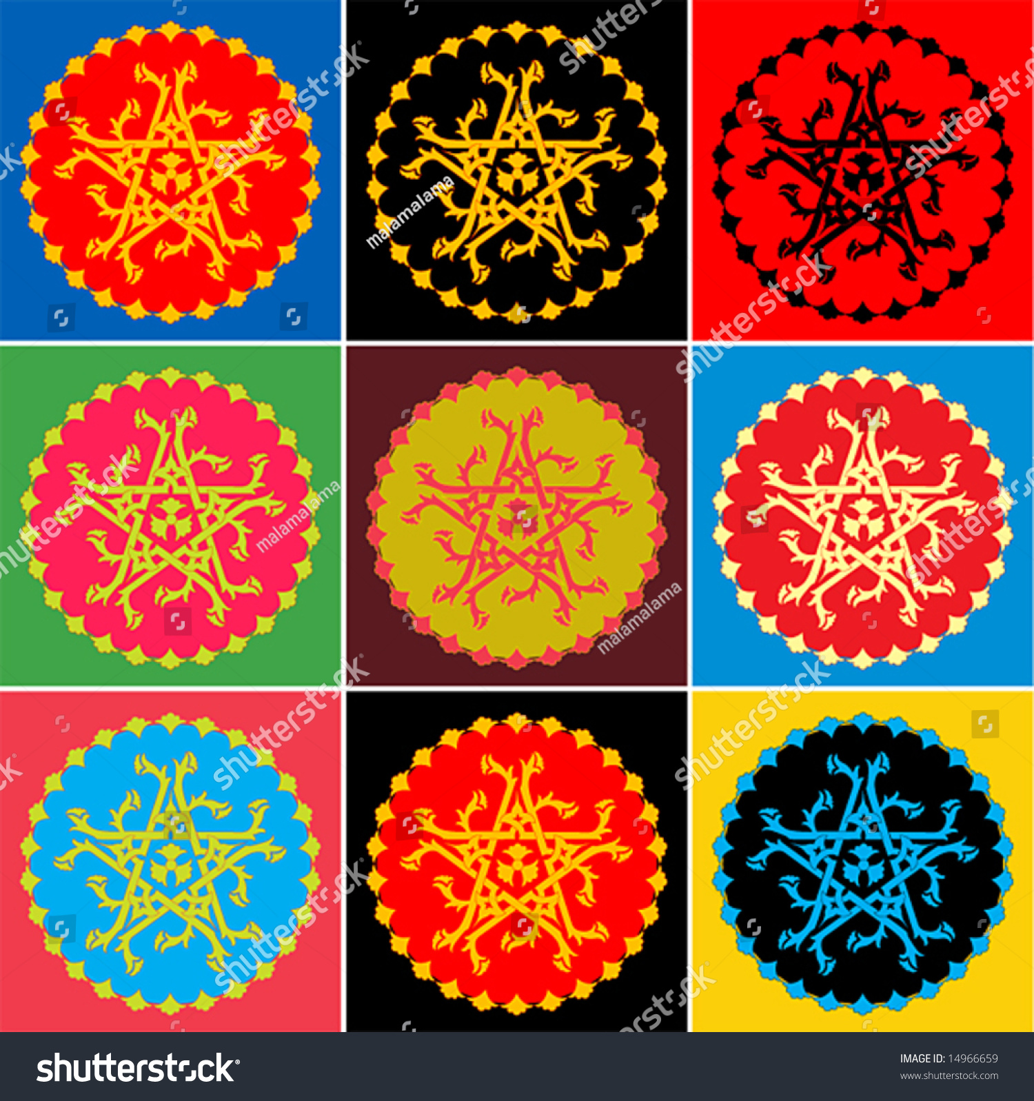 nine colorways design that combines geometric stock vector (royalty