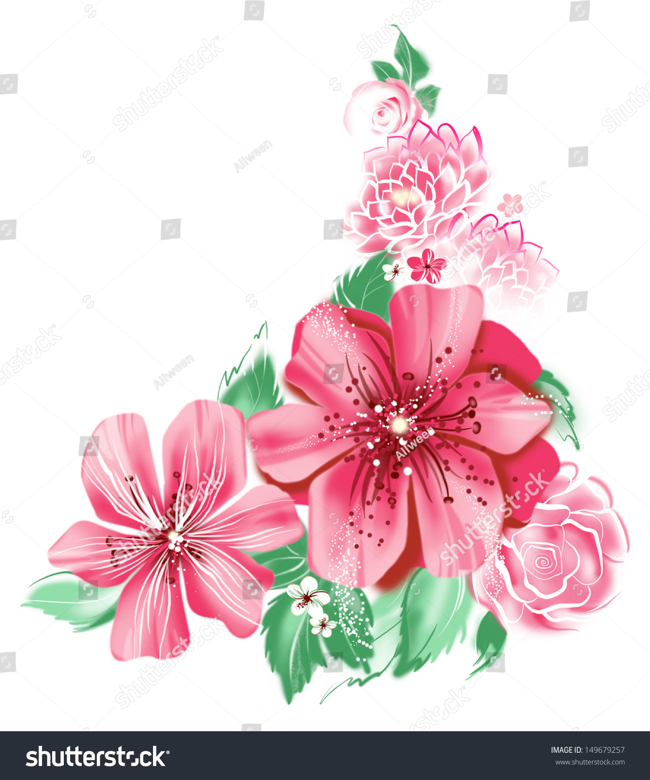 Color Illustration Flowers Watercolor Paintings Greeting Stock