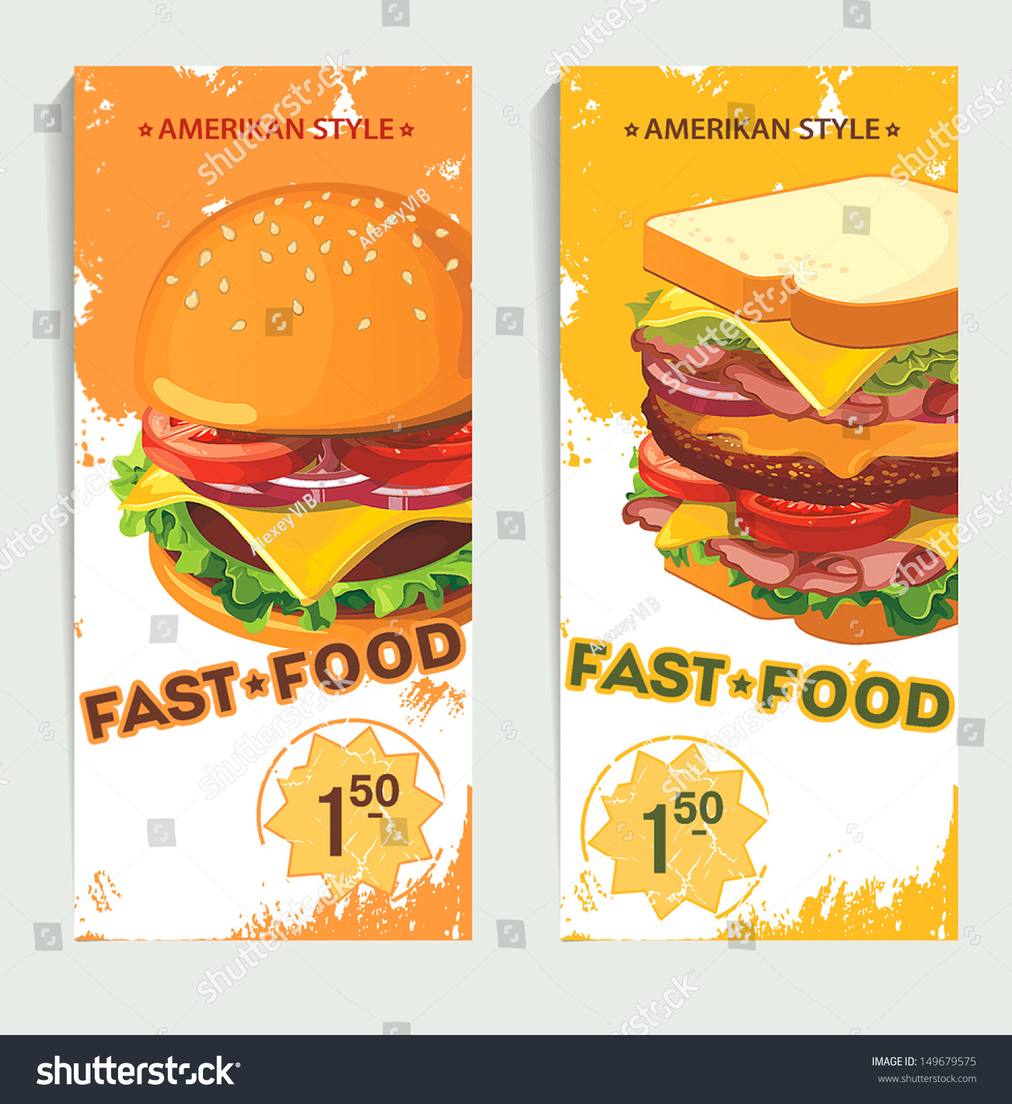 banners fast food design hand drawn stock vector 149679575