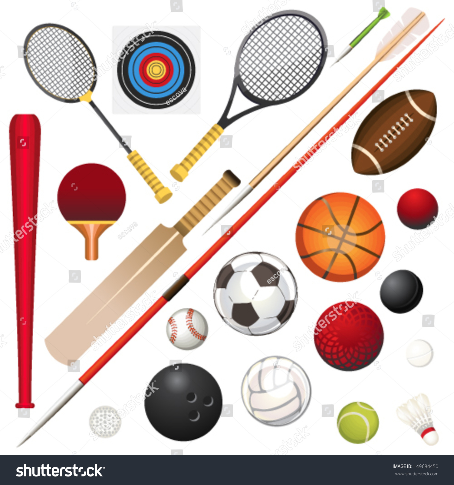 vector illustration various sport equipment stock vector vector baseball ball victor baseball bats