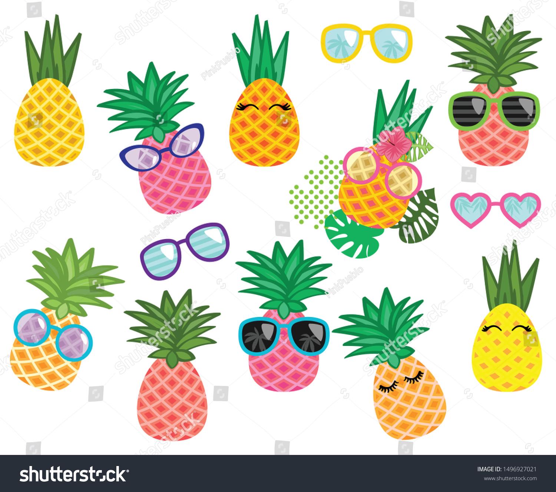 Vector Collection Cute Kawaii Pineapples Stock Vector