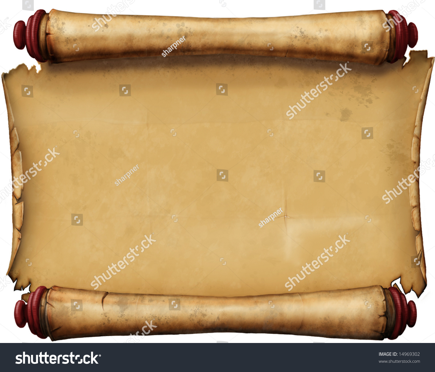 Horizontal Old Blank Scroll Stock Photo 14969302 ...