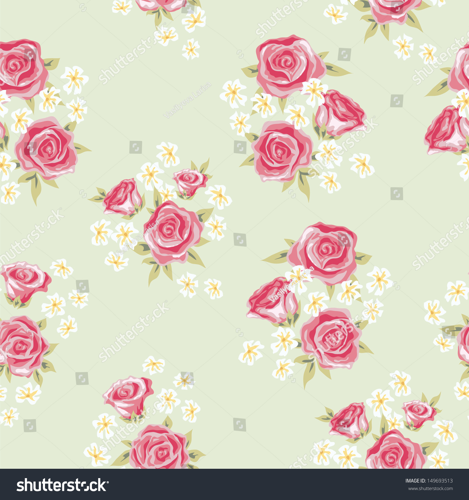 Floral Seamless Vintage Pattern Shabby Chic Stock Vector