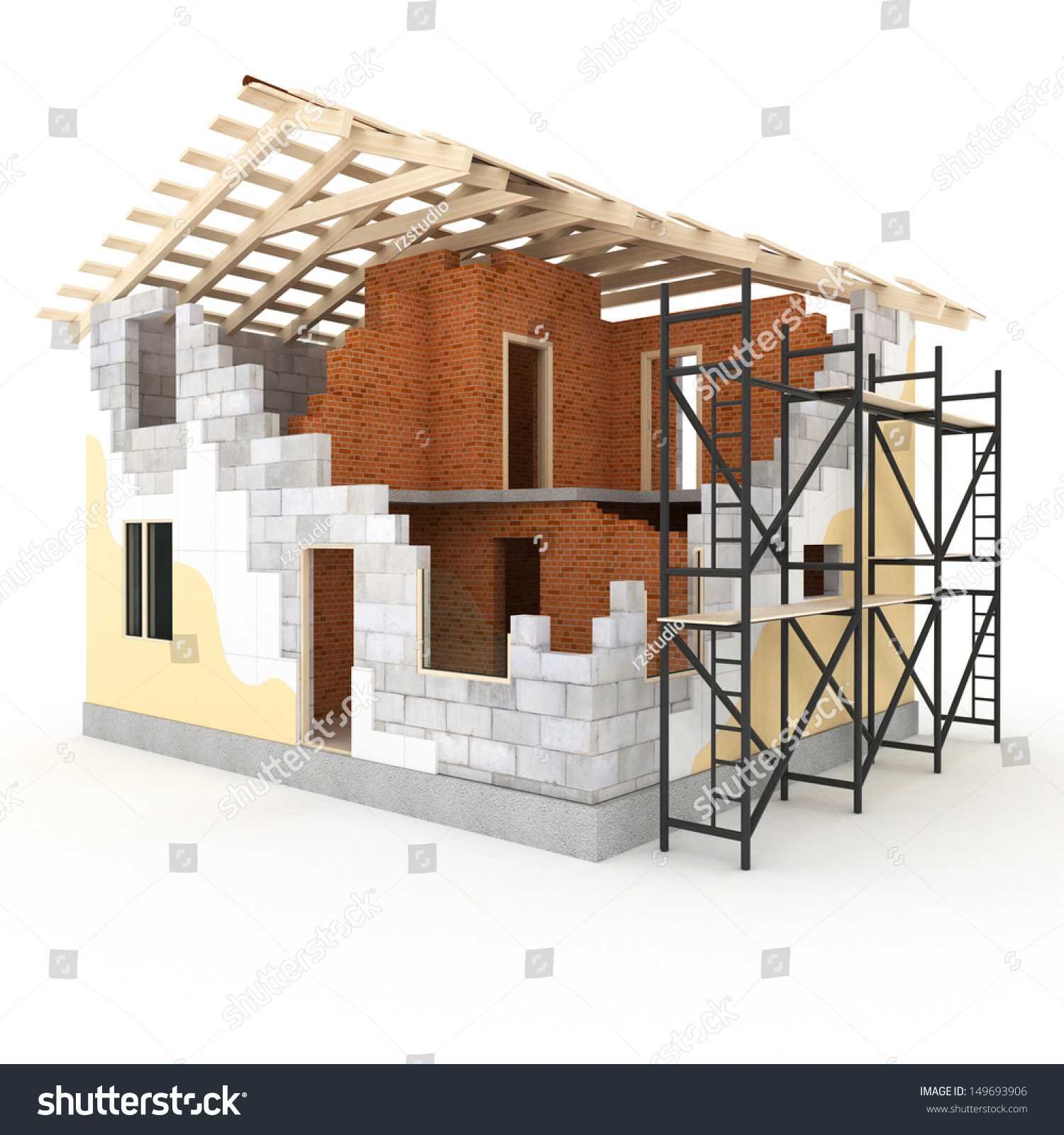 Picture Book Illustration Making An Architectural Model: Architecture Model House Showing Building Structure Stock