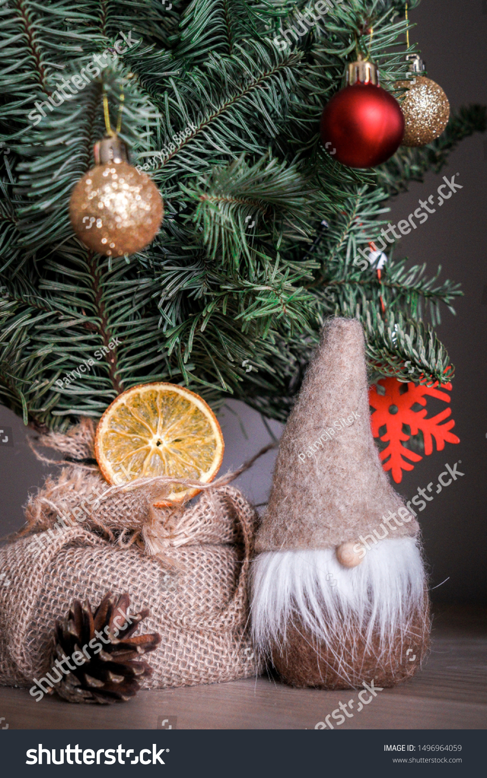 Small Christmas Tree Traditional Decorations Like Stock Photo Edit Now 1496964059