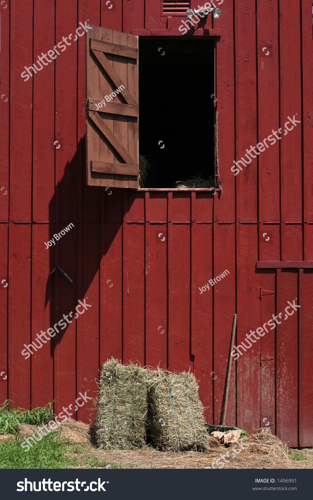 Red Barn Hay Loft Door Open Stock Photo 1496991 - Shutterstock