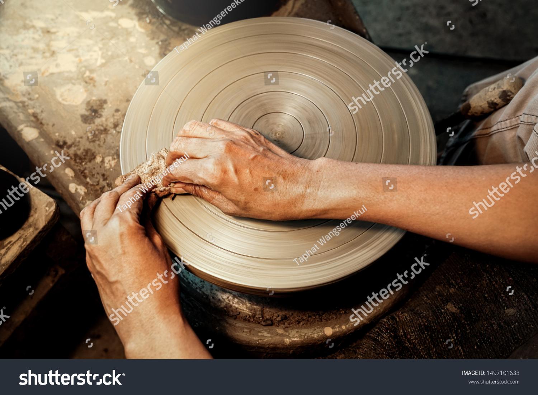 Craftsman Use Sponge Wipe Clay On Stock Photo Edit Now 1497101633