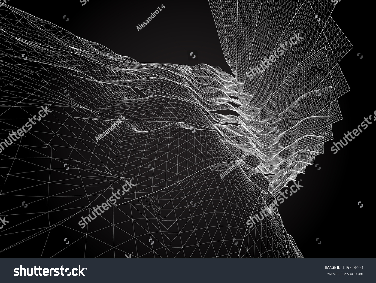 Wireframe Surface Vector Background Stock Vector 149728400