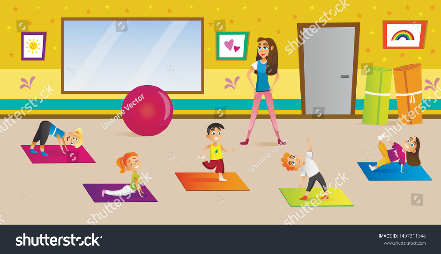 Kids Having Yoga Classes Different Poses Stock Vector Royalty Free 1497311648