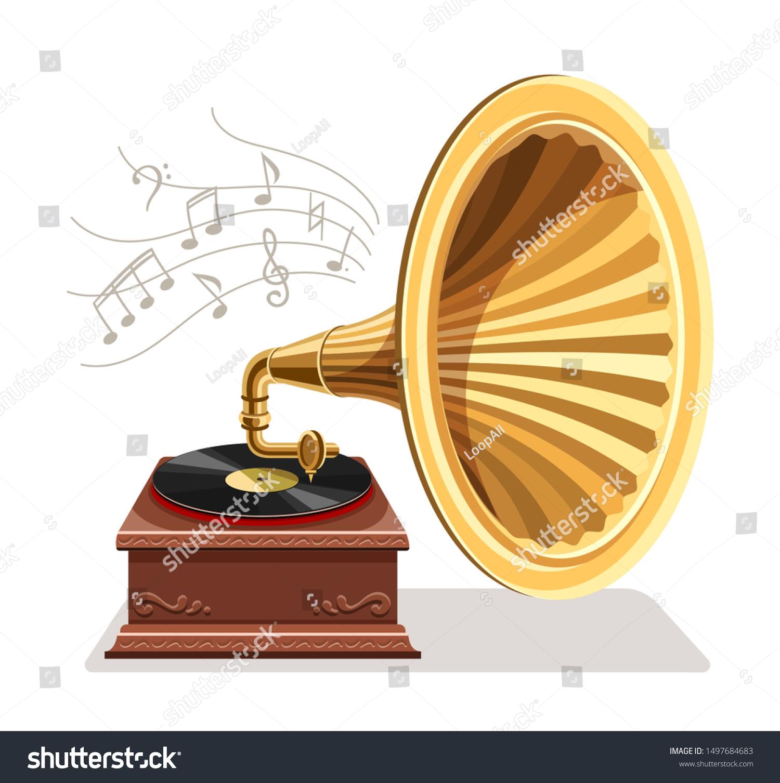 vintage gramophone vinyl recording on disc stock vector royalty free 1497684683 shutterstock