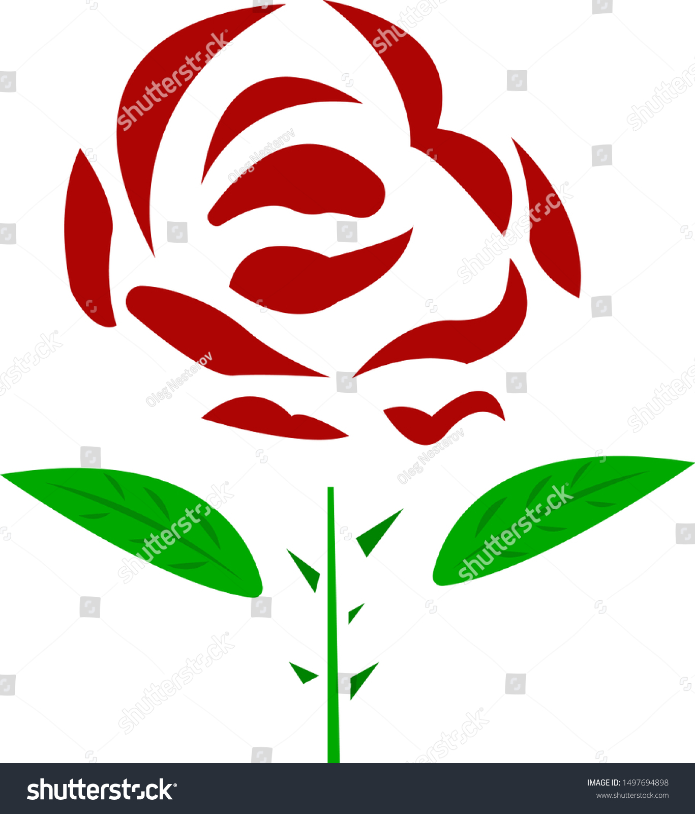 Red Rose Logo Stem Leaves On Stock Vector Royalty Free 1497694898