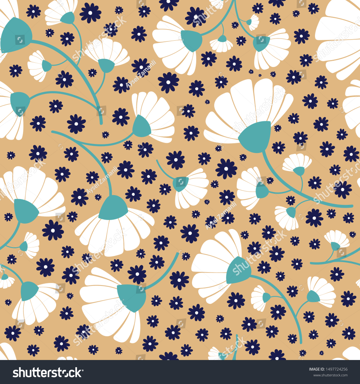 Vector Modern White Navy Wildflowers On Stock Vector Royalty Free ...