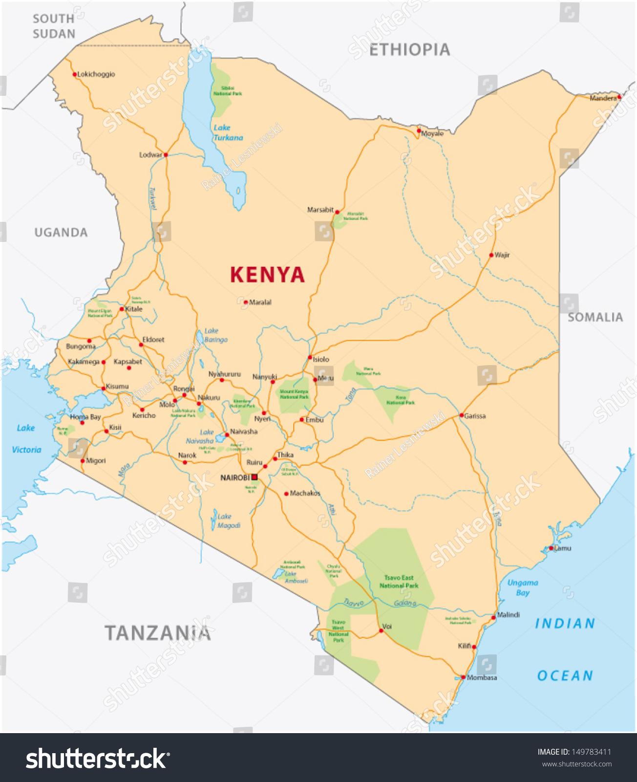 Kenya Road Map Stock Vector 149783411