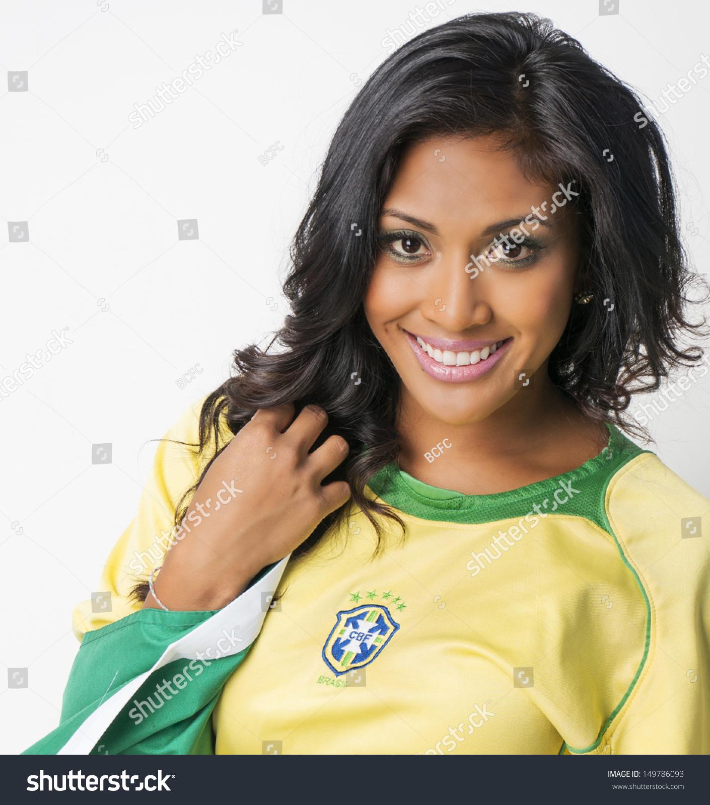 Beautiful Brazilian Young Woman Happy Smiling Stock Photo