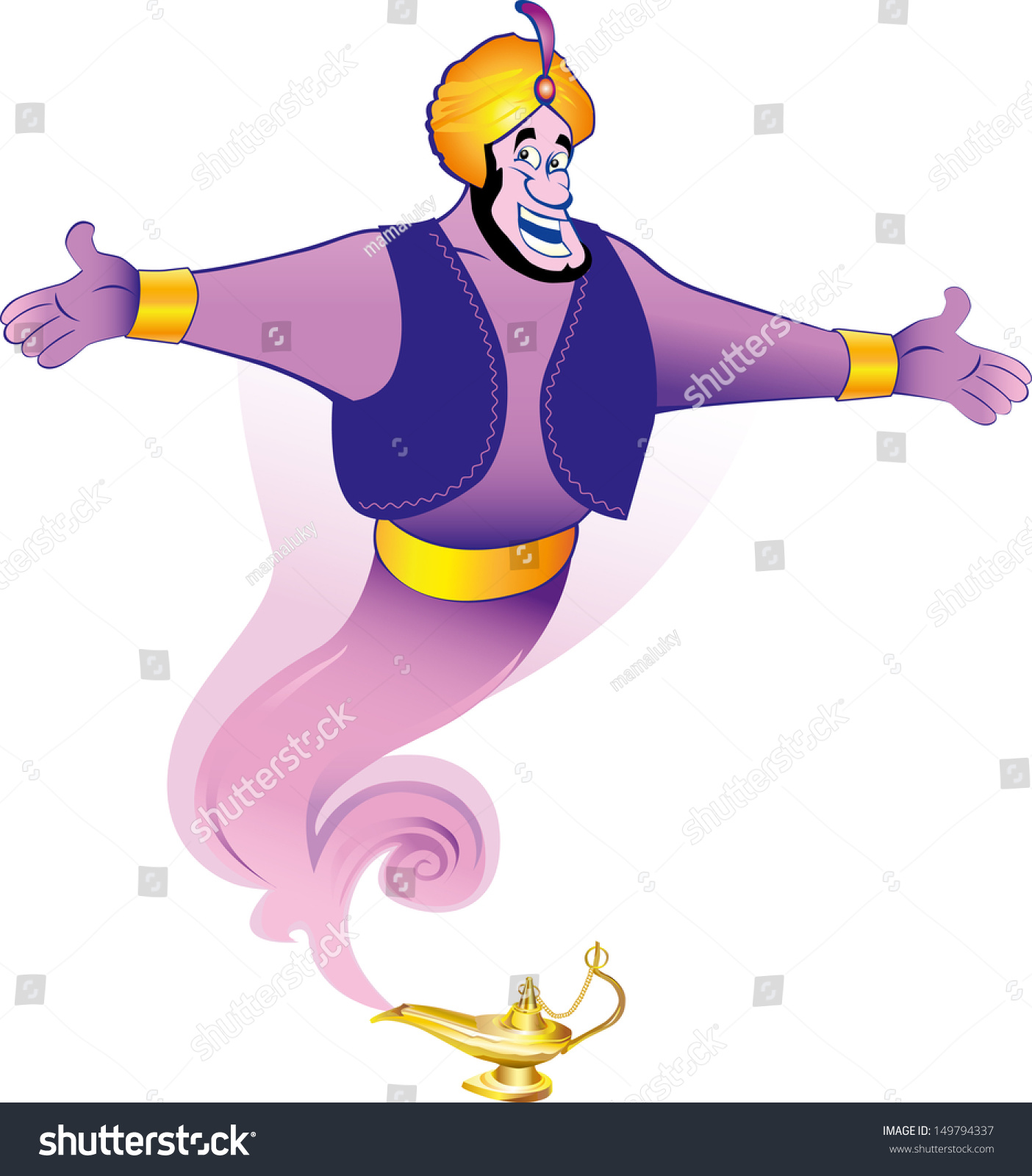 Illustration Magic Genie Appear Magic Lamp Stock Vector