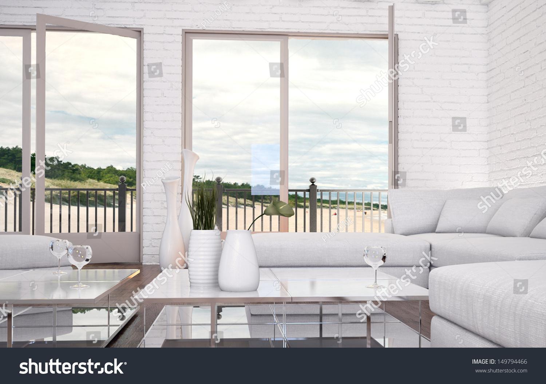 Modern loft living room white couch stock illustration for Modern loft living room